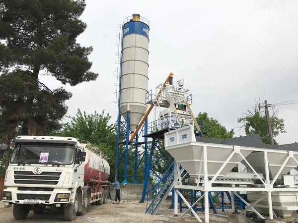 Aimix AJ50 concrete plant set up in Tajikistan