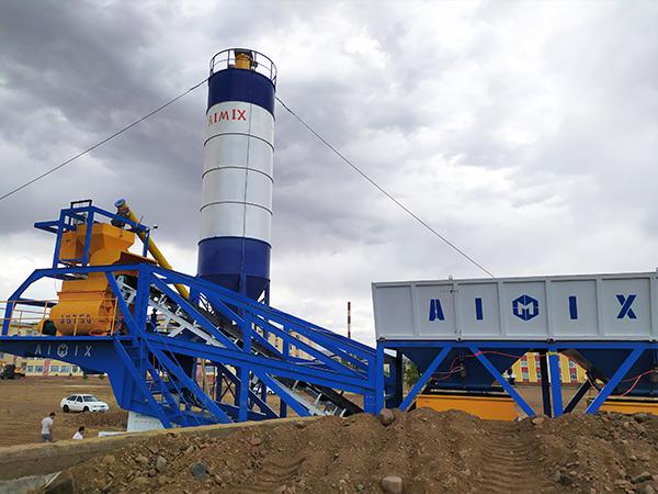 Aimix-AJY35-Mobile-Concrete-Plant-in-Uzbekistan-2