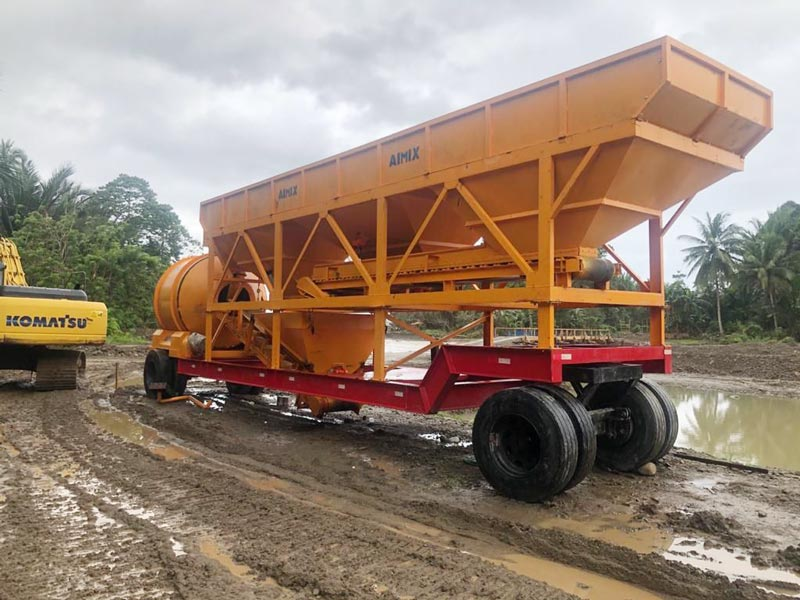 mobile concrete plant installed in Indonesia