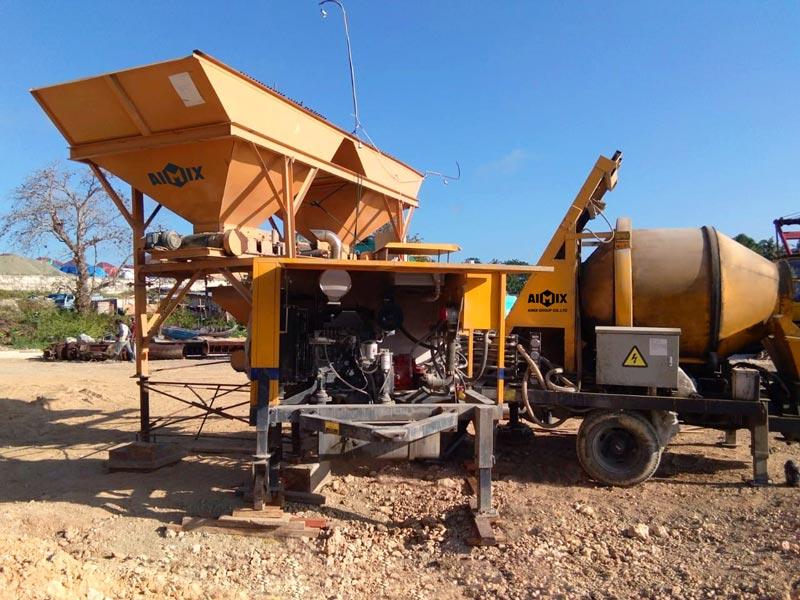Pompa mixer beton diesel AIMIX di Indonesia