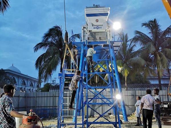 Aimix HZS50 konkrit plant nyetel munggah ing Bangladesh