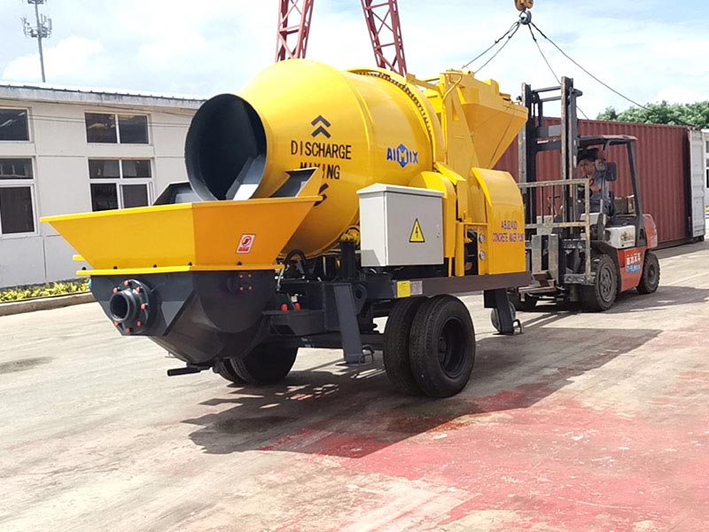 AIMIX 40cbm concrete mixer pump dikirim menyang Indonesia