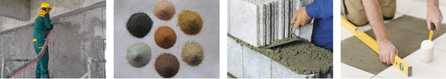 application of dry mortar