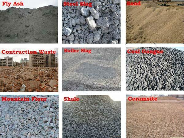 concrete block machine raw materials
