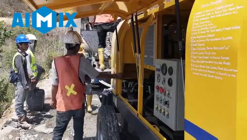 AIMIX ABT60C Diesel Concrete Pump Working in Indonesia 3