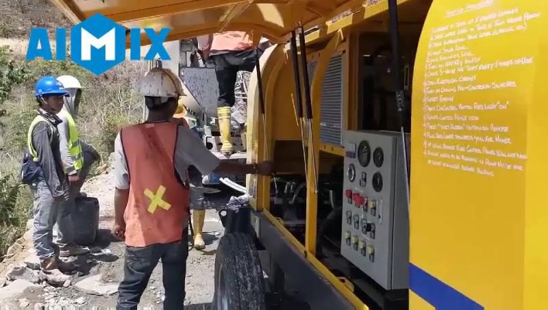 AIMIX ABT60C Diesel Concrete Pump Working in Indonesia 3