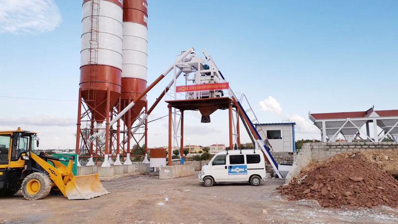 aimix AJ50 concrete plant set up in Pakistan