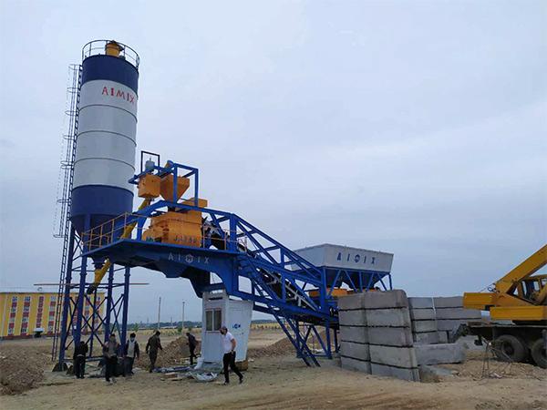 Aimix AJY35 Mobile Concrete Plant in Uzbekistan