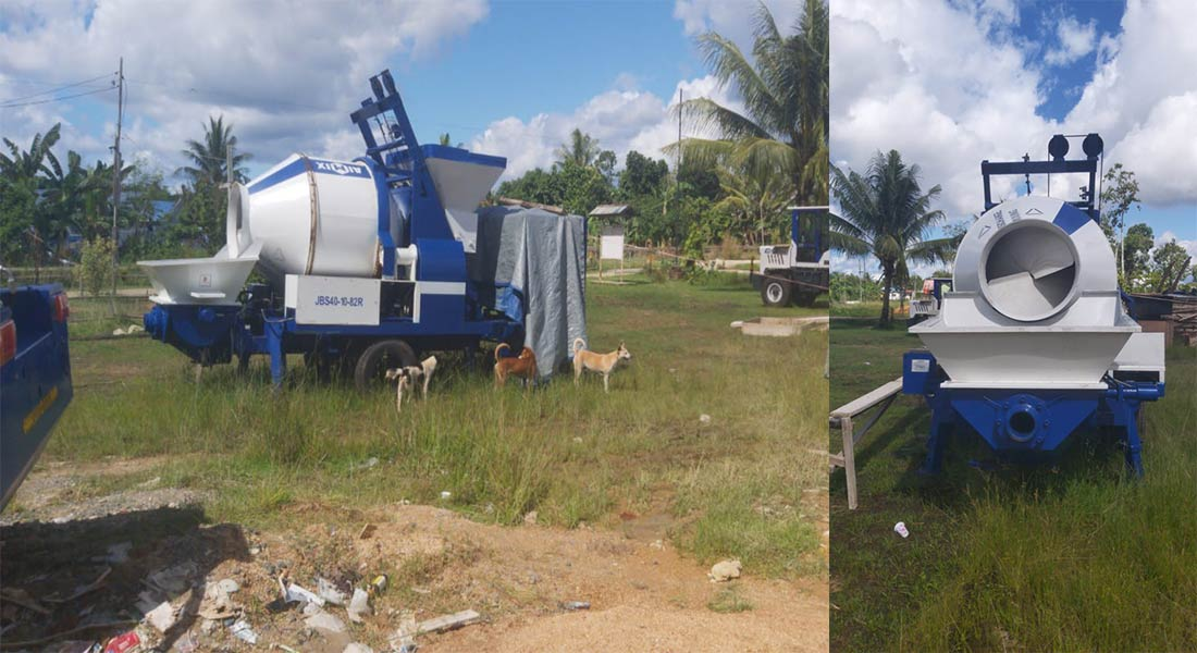 concrete mixer with pump ABJZ40C in Papua Indonesia