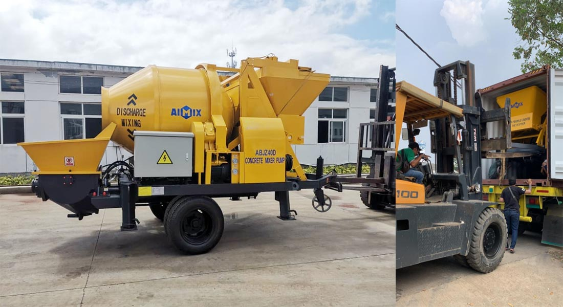 Electric concrete mixer with pump ABJZ40D in Jakarta Indonesia